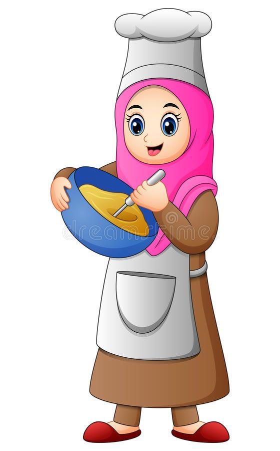 Happy Muslim girl cooking. Illustration of Happy Muslim ...
