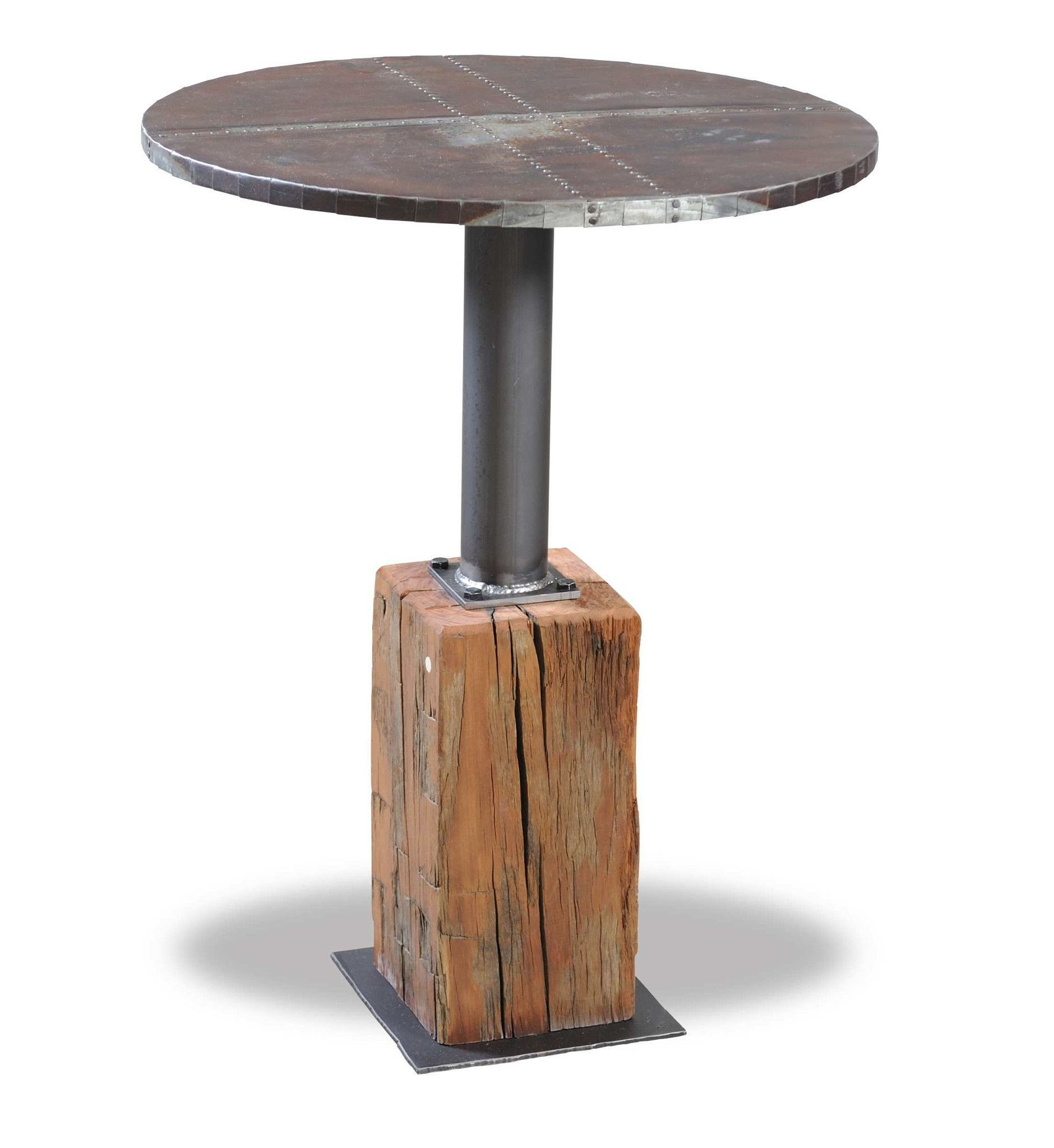 Tin Top End Table With Reclaimed Hand Hewn Beam Base. The Metal Table Tops  Are