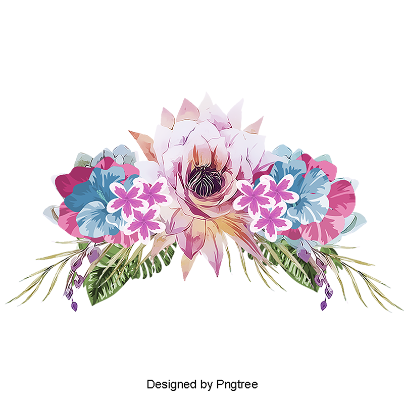 Hand Painted Flowers Vector, Watercolor, Painting, Flowers