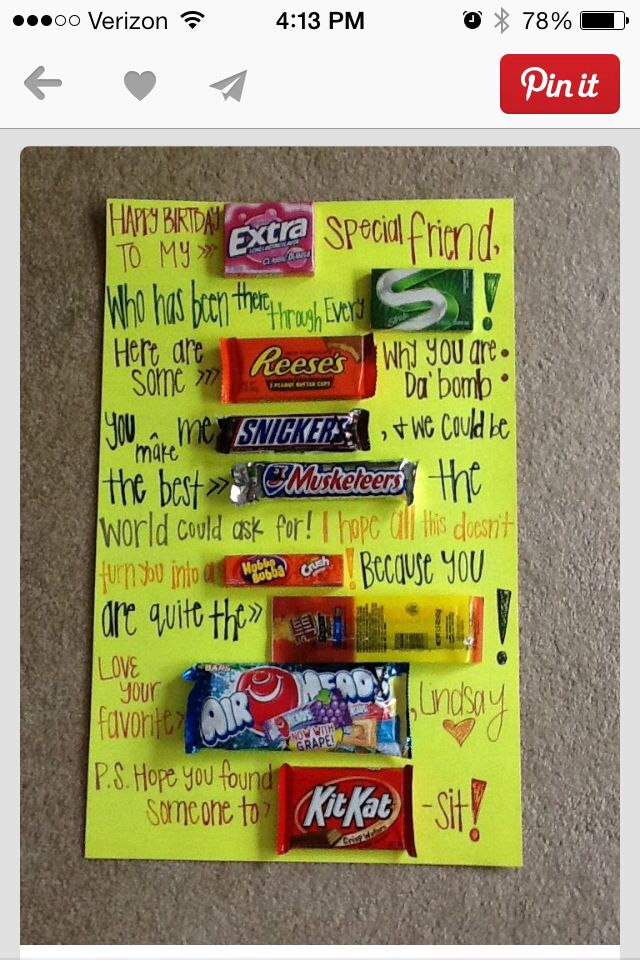 Friends Bday Birthday Gifts For Best Friend Birthday Candy Posters Candy Birthday Cards