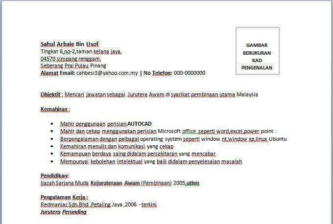 Resume Jurutera Awam Microsoft Riwayat Hidup Surat