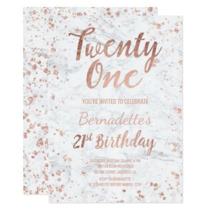 Faux rose gold confetti white marble 21st Birthday Invitations