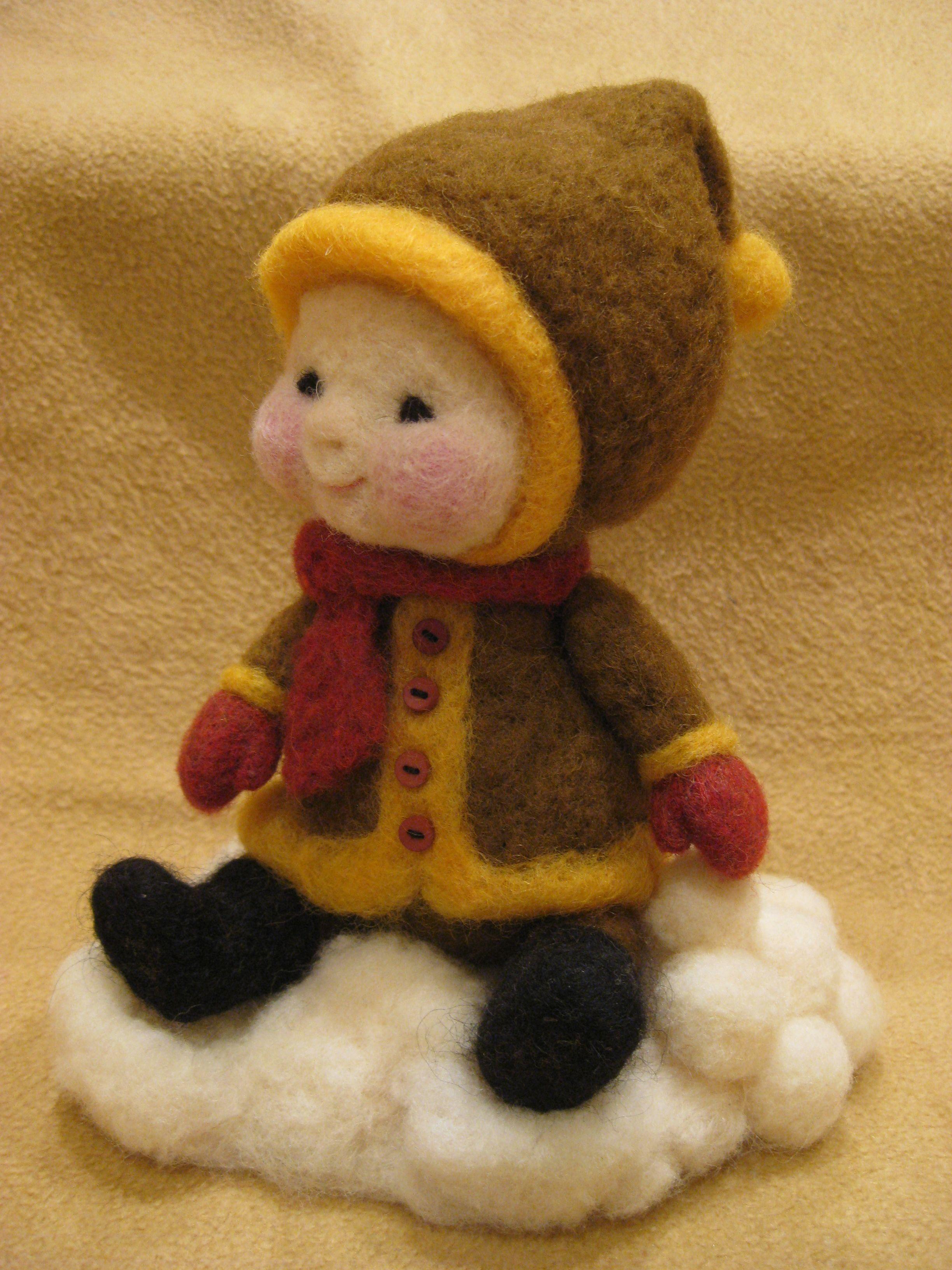Needle felted wool Winter kid -  (Barb Soet) #feltcreations