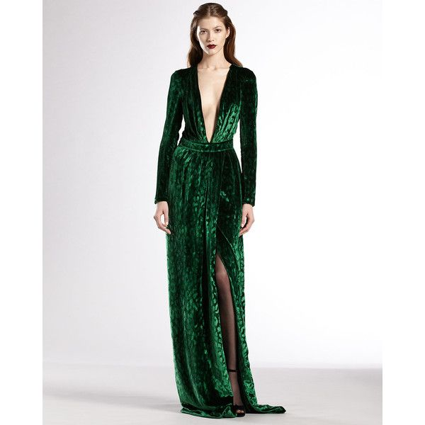 Gucci Velvet Deep V-Neck Gown (4 750 AUD) found on Polyvore ...