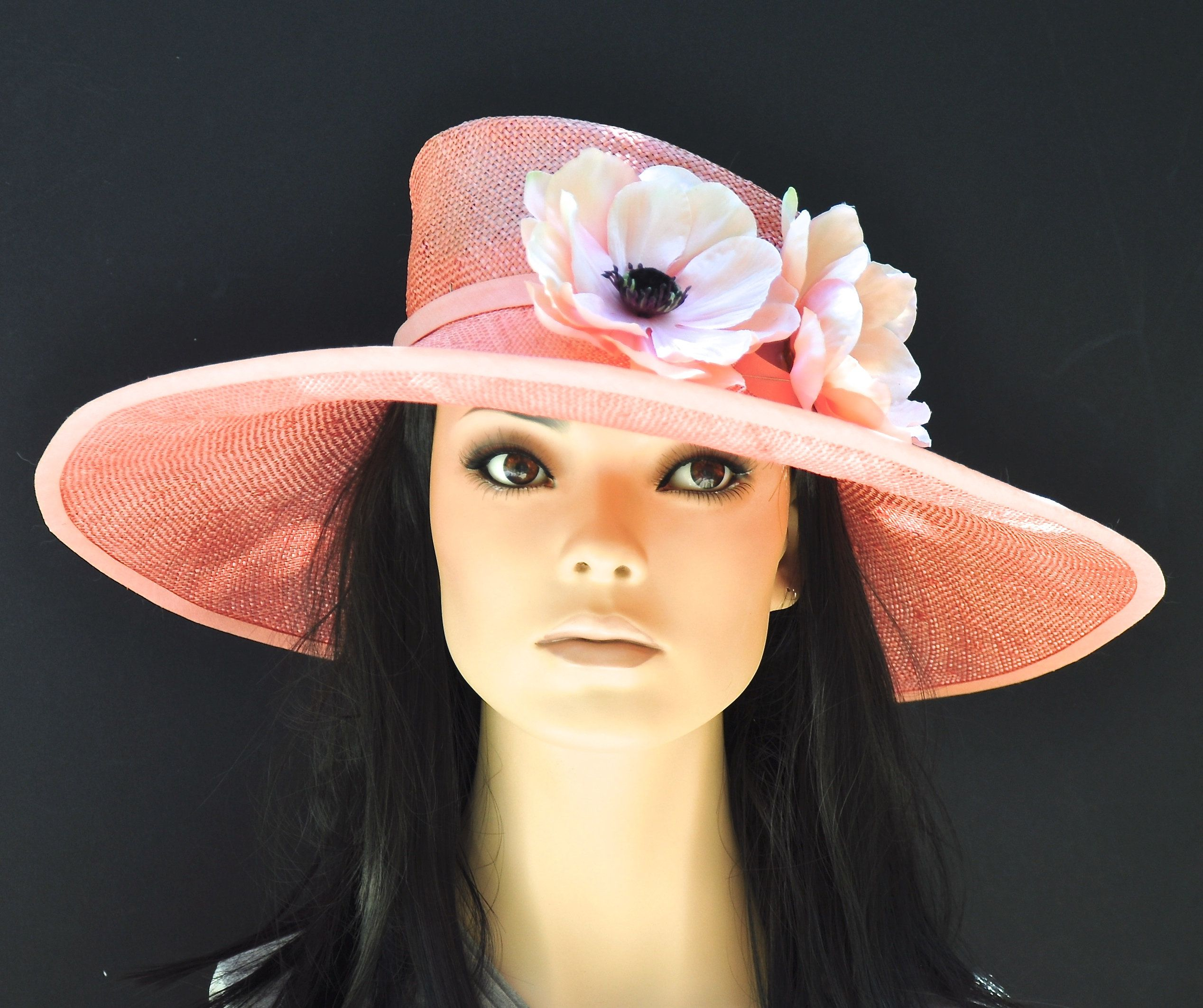 7a754cf6 Wedding Hat, Kentucky Derby hat, Ladies Coral Hat, Women's Coral Hat ...