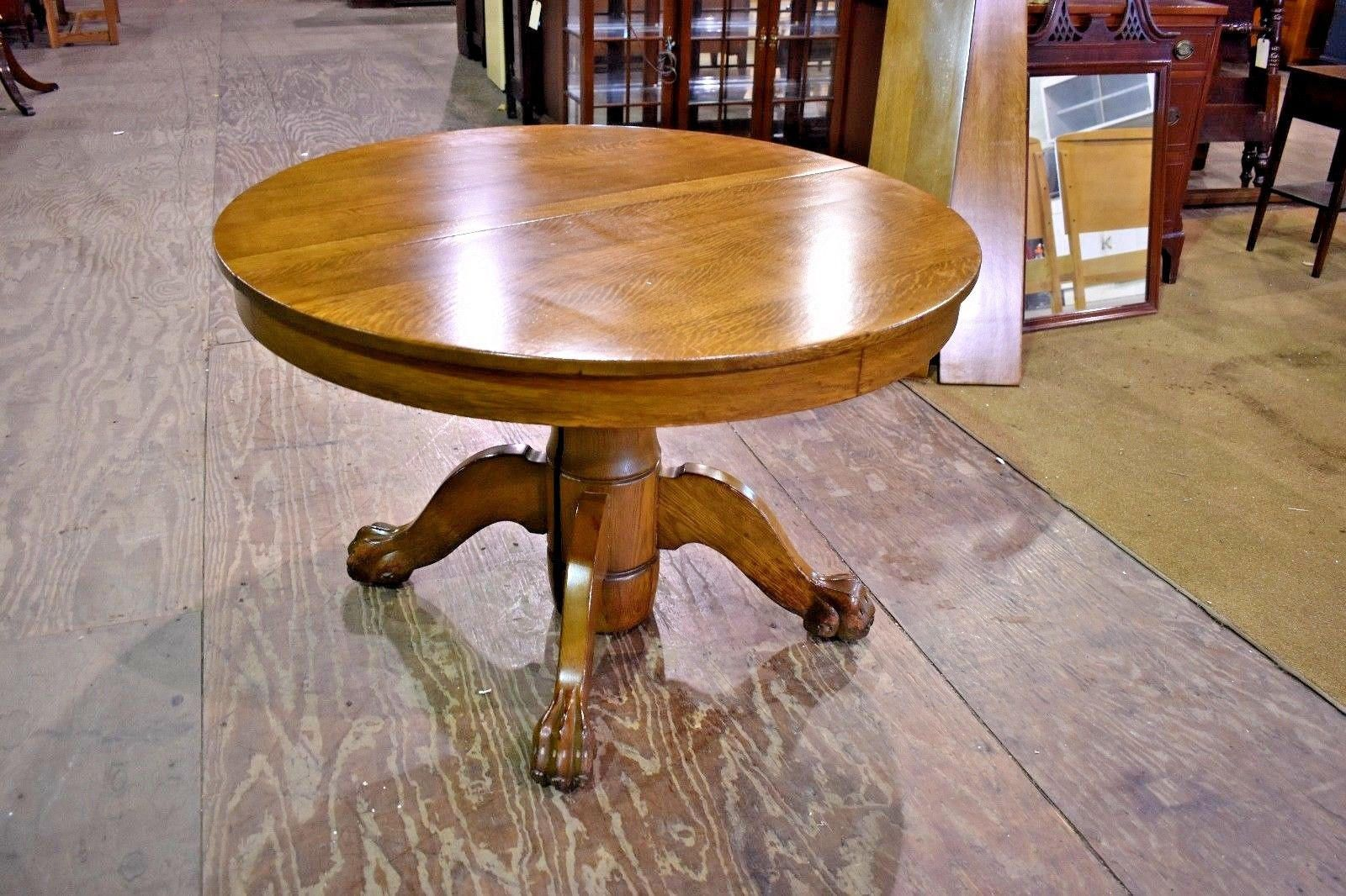 Antique Round Tiger Stripe Quarter Sawn Oak Dining Table With Paw