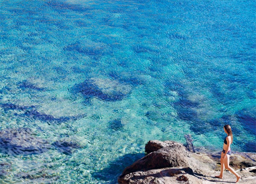 Clear blue waters.