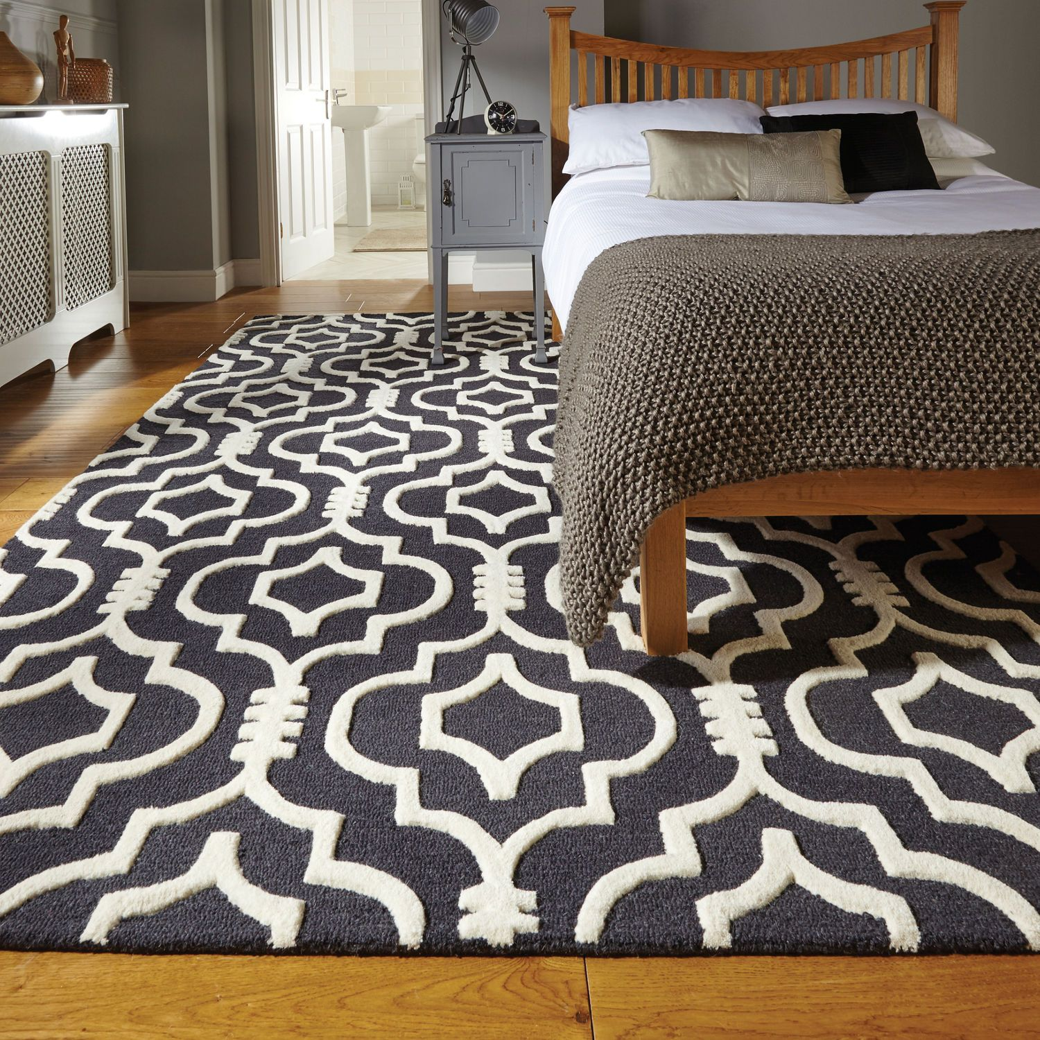 Flair Moorish Morocco Rug In Charcoal Next Day Delivery