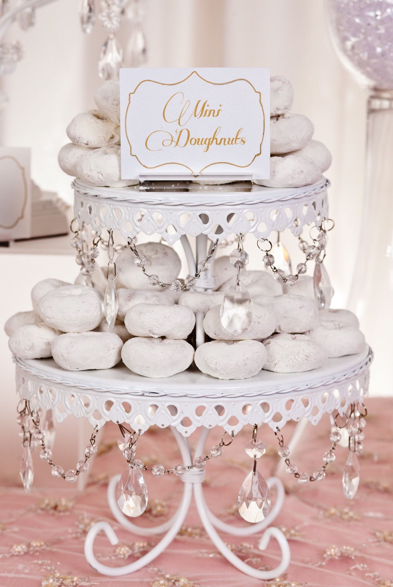 Stacked Bling cake stands look yummy with mini donuts! By KCee\'s ...