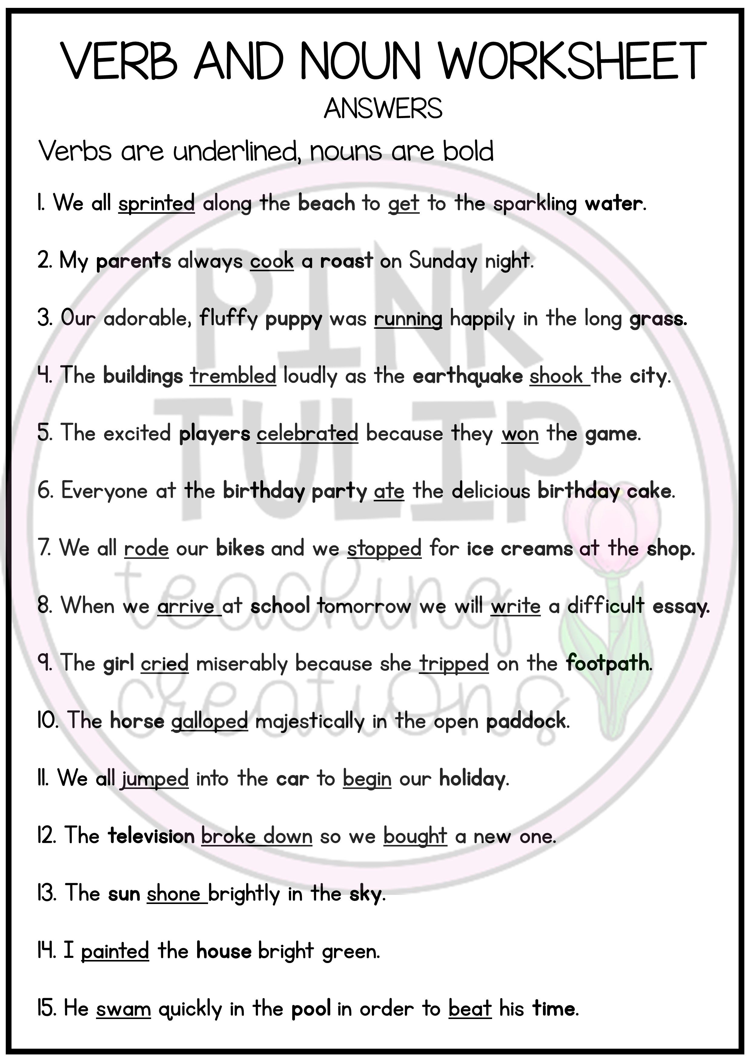 Label The Verbs And Nouns Worksheet