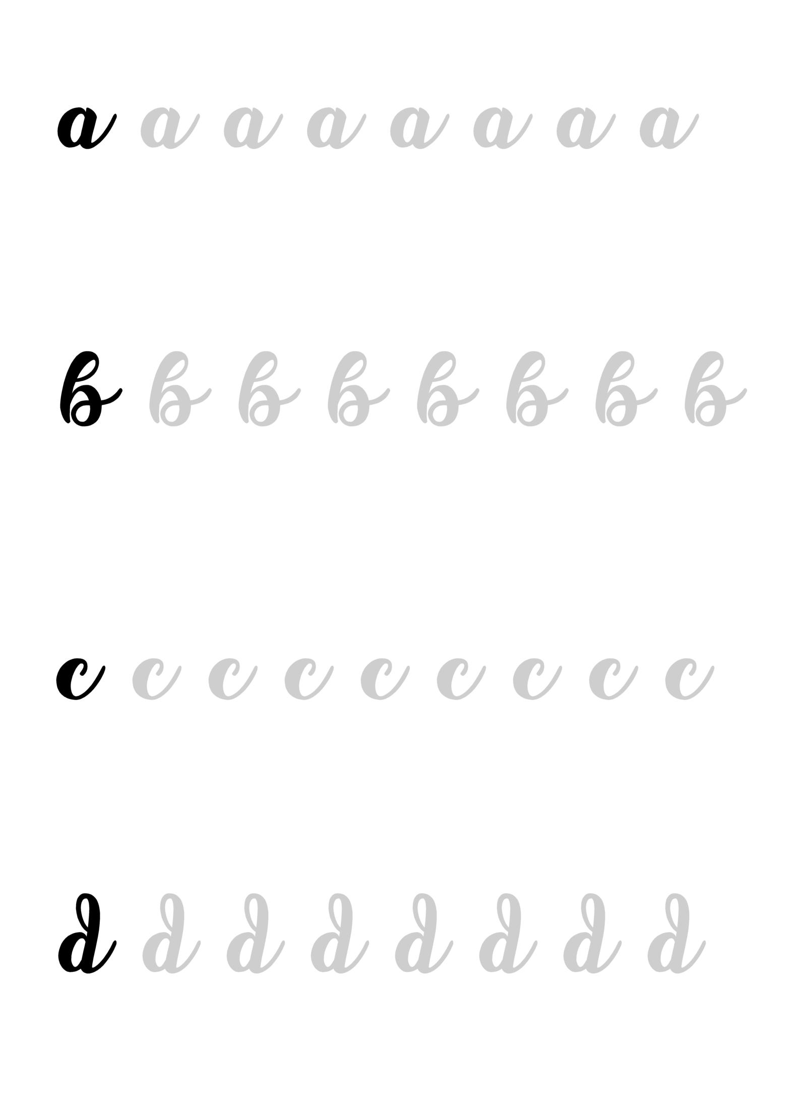 feuille exercices calligraphie réalisée par Caroline