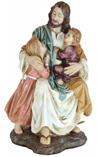 """This heartwarming Jesus with the Children Statue stands 7 3/4""""H and is made of hand painted resin. A beautiful addition for any indoor setting."""