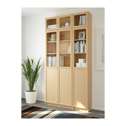 Billy Oxberg Bookcase Birch Veneer Gl 47 1 4x93 4x11 3 4