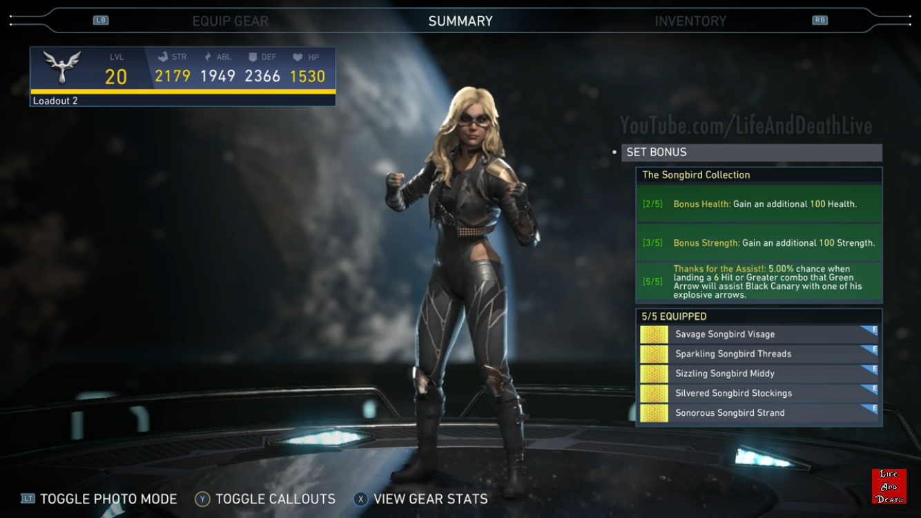 Black Canary S Songbird Collection Epic Gear Set Injustice 2 Injustice 2 Black Canary Injustice