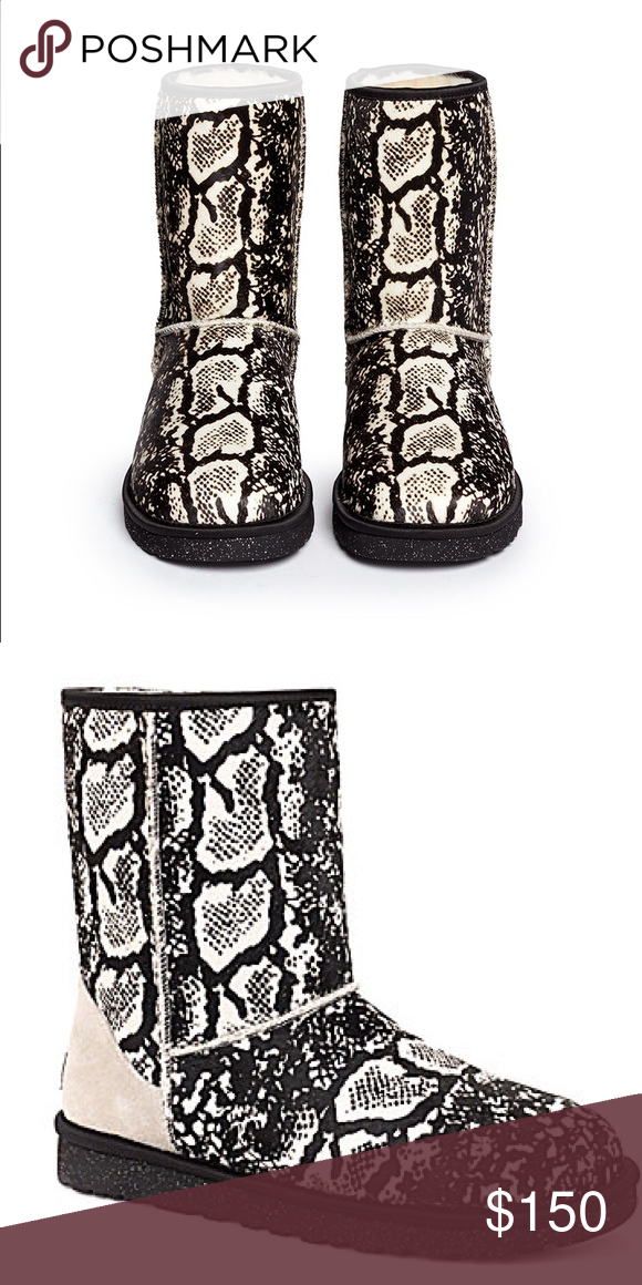 Black white classic ugg boots Soul is black with silver sparkles. Worn less than 10