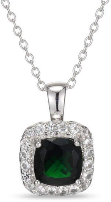 Zales 7.0mm Cushion-Cut Garnet and Lab-Created White Sapphire Frame Pendant in Sterling Silver dnXEIPtD6G