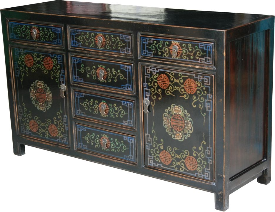 Chinese Antique Black Painted Sideboard/Buffet :: Sideboard Buffet :: Chinese  Furniture : - Chinese Antique Black Painted Sideboard/Buffet :: Sideboard Buffet