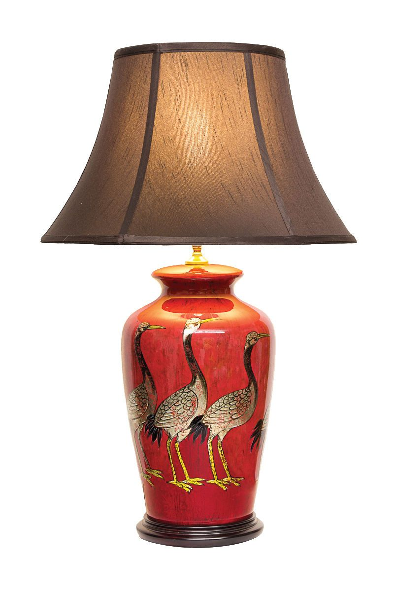 Qishuyan Porcelain Vase Lamp Table Lamp Red Table Lamp Chinese
