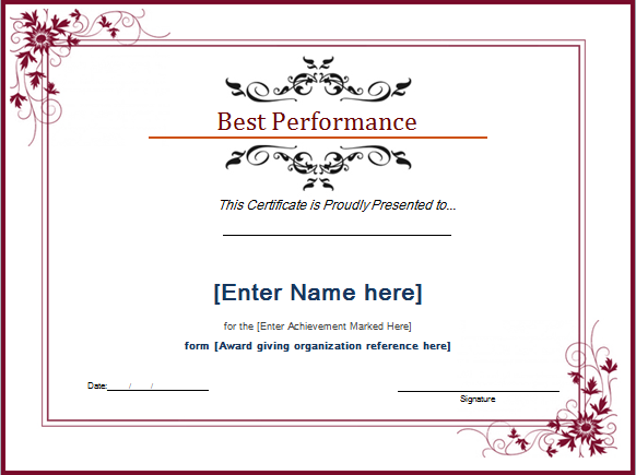 Best Performance Award Certificate At WordDocumentsCom