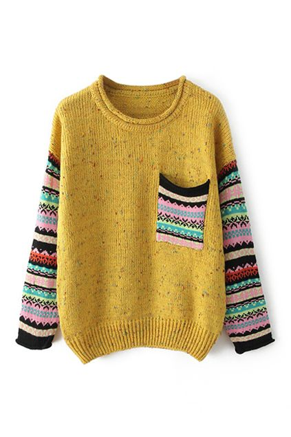 ROMWE | Pocketed Striped Yellow Jumper, The Latest Street Fashion