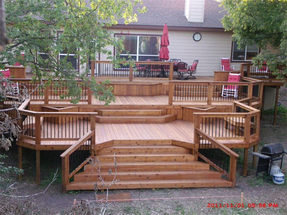 The Complete Guide About Multi Level Decks With 27 Design Ideas Building A Deck Diy Deck Hot Tub Deck