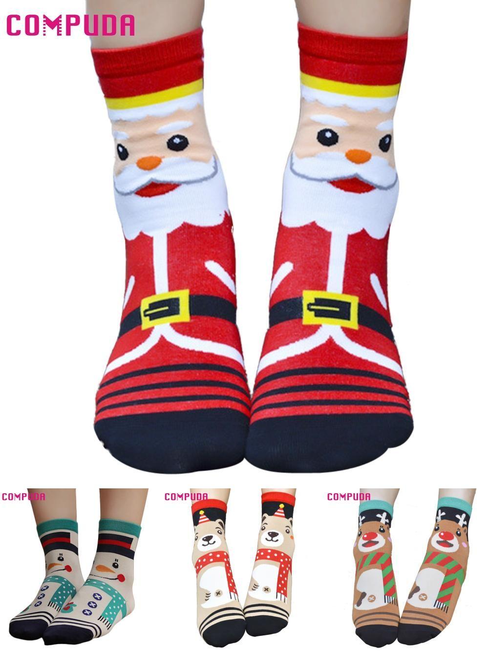 visit to buy compuda 3d cartoon christmas socks women cotton socks floor u6822 drop - Christmas Socks For Men