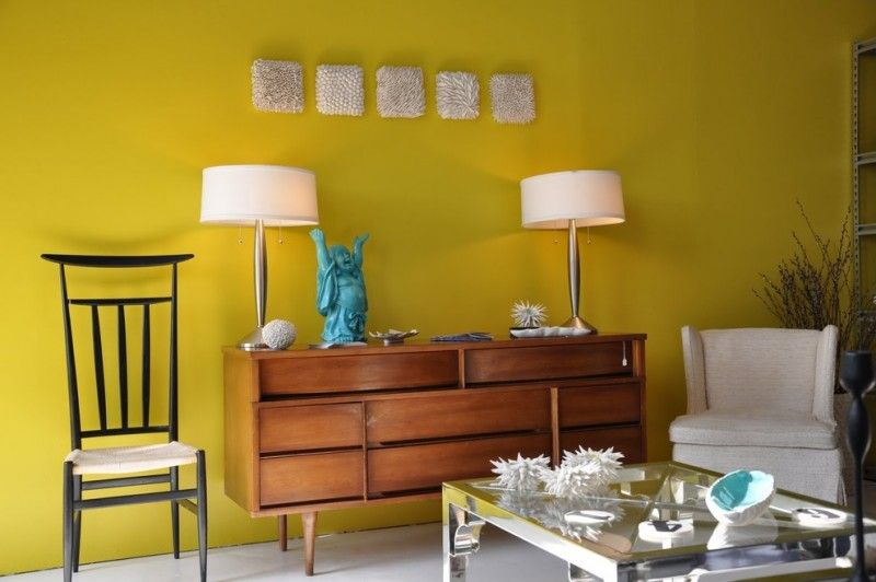 clean yellow wall painting idea wood console table in classic style ...