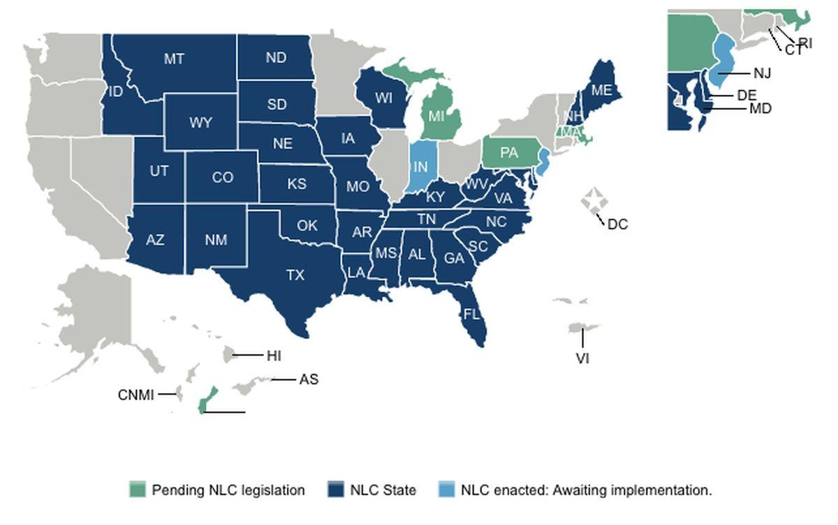 Updated Map Enhanced Nursing Licensure Compact (eNLC) Jan