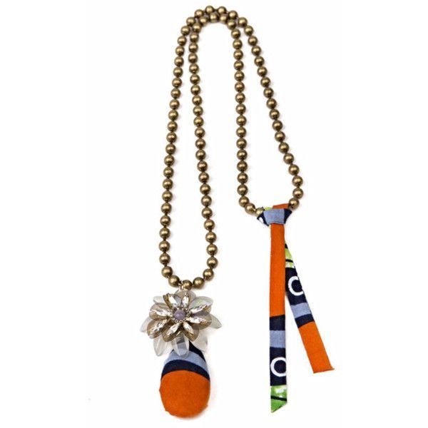 Tataborello Primula Lilac Orange Fabric Pendant Necklace (€130) ❤ liked on Polyvore featuring jewelry, necklaces, beaded flower necklace, boho necklace, orange necklace, bohemian necklaces and magnetic necklace