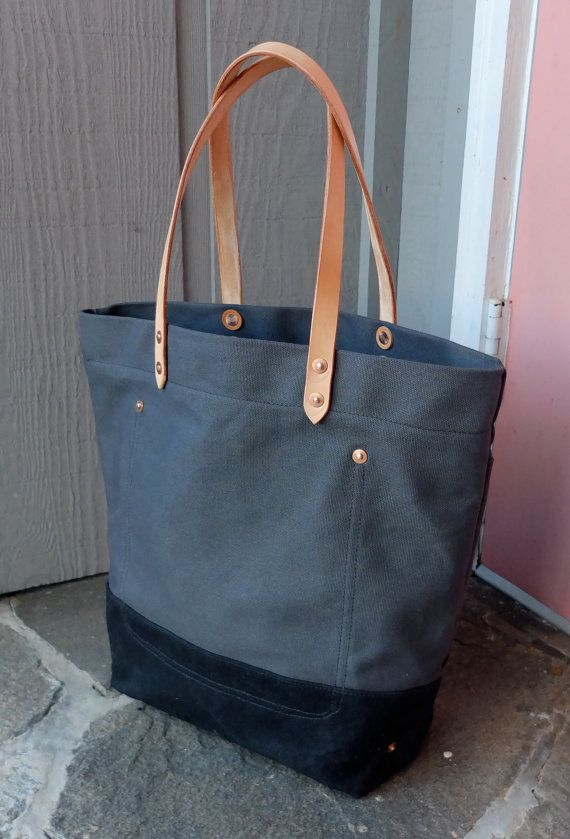 Canvas Tote Bag with Leather Handles - Large Charcoal Gray & Black ...