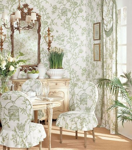 I Love The Mirror In This Sitting Room. We Redid The Chairs In Green Toile,  Perfect.