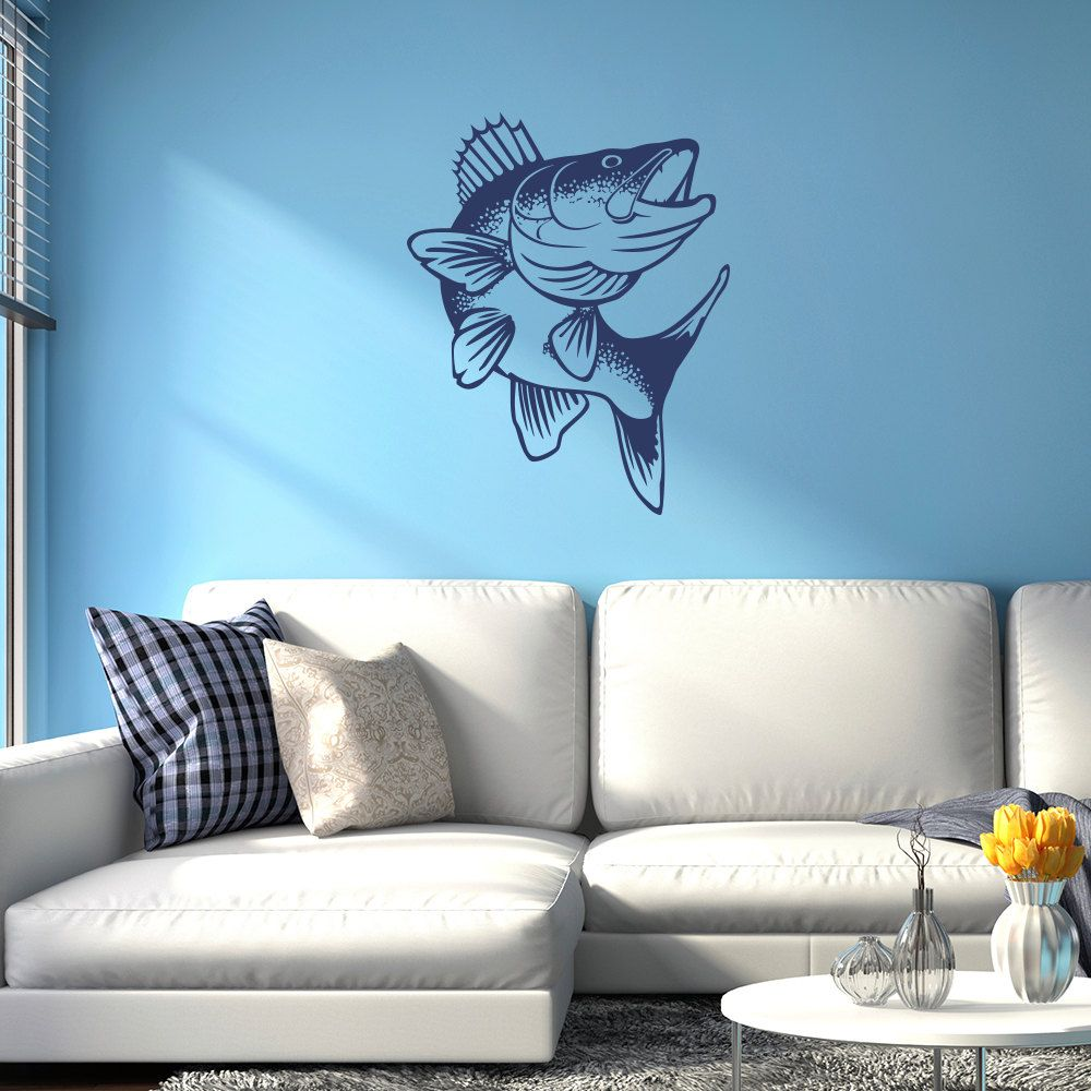 walleye fish vinyl wall decal available in 40 colors k660 walleye fish vinyl wall decal available in 40 colors k660