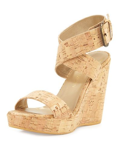 STUART WEITZMAN Crossover Cork Wedge Sandal, Natural. #stuartweitzman #shoes #sandals