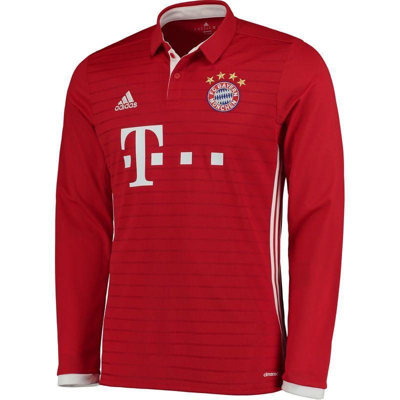 Bayern Munich Adidas 2016 17 Home Long Sleeve Jersey Red White