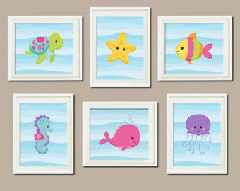 Baby Girl Nursery Art Sea Life Sea Animals Under The Sea Nursery Decor Sea Animals Bathroom