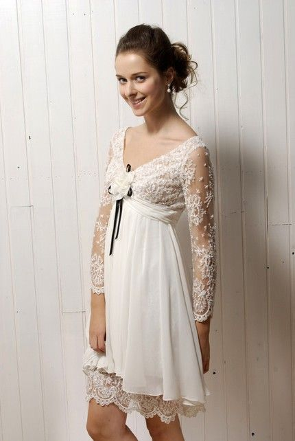 Vintage Inspired Ivory Lace Casual Wedding Dress With Long Sleeves And V Neck