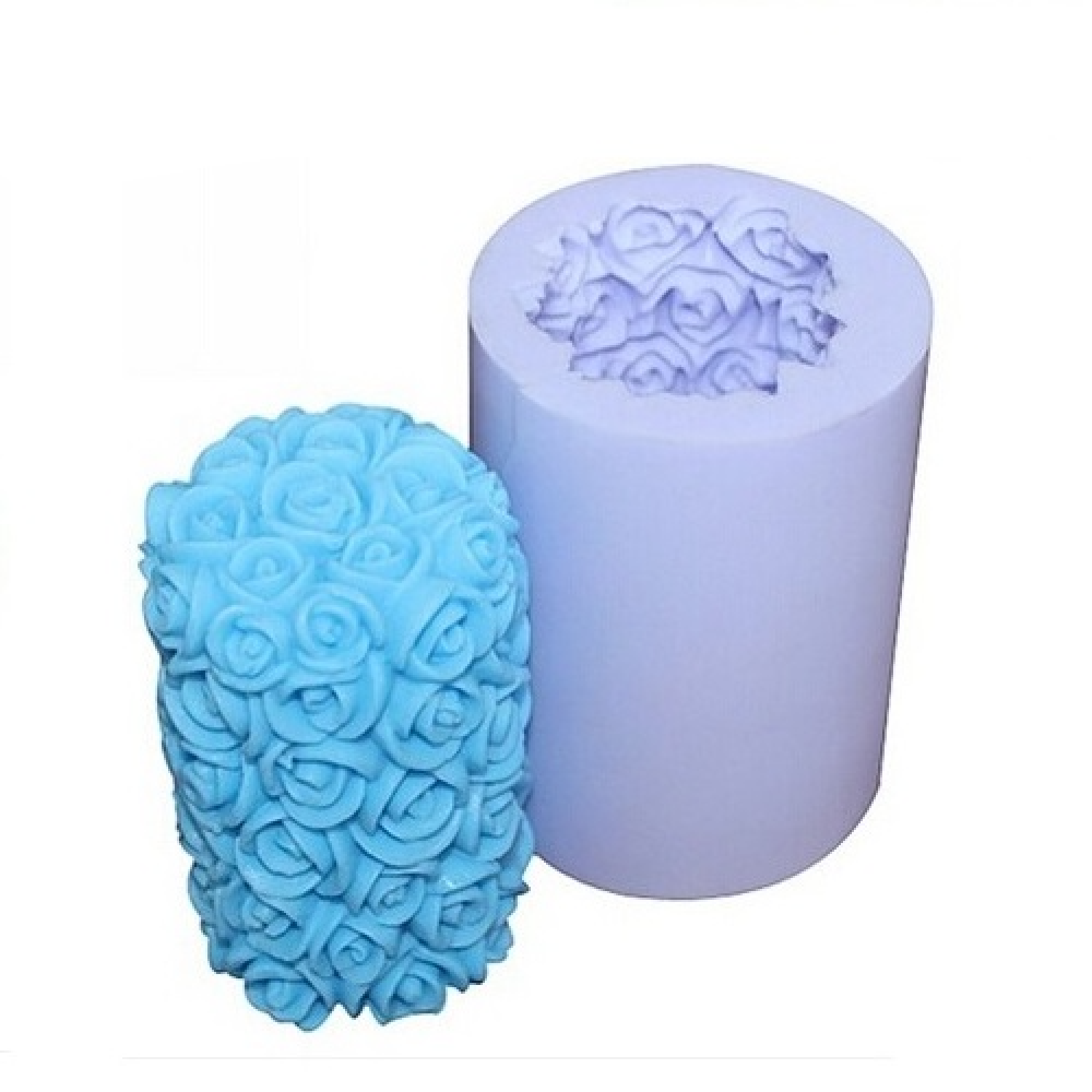 Cylinder Rose Flower Silicone Candle Mold (With images