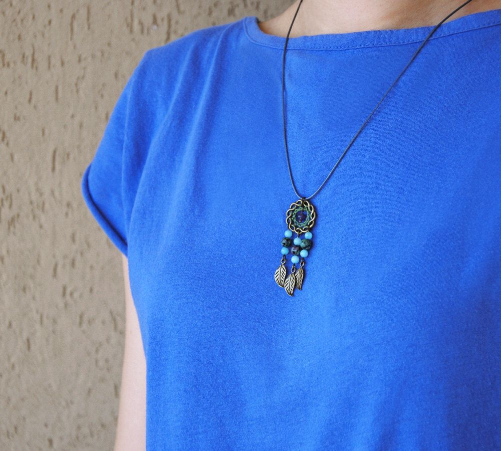 black dreamcatcher tribal hippie charm eclectic bohemian pendant native american jewelry boho layering necklace Dream Catcher Necklace