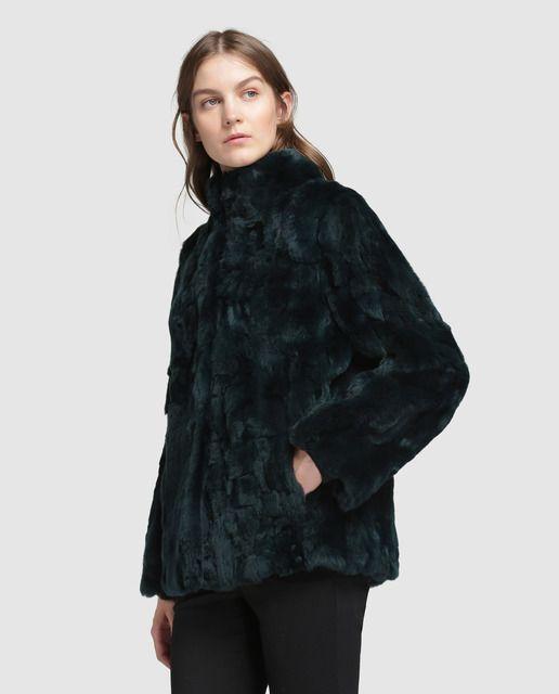 aa1e11d74543 Abrigo corto de mujer El Corte Inglés de pelo de rex | Moda | Moda ...