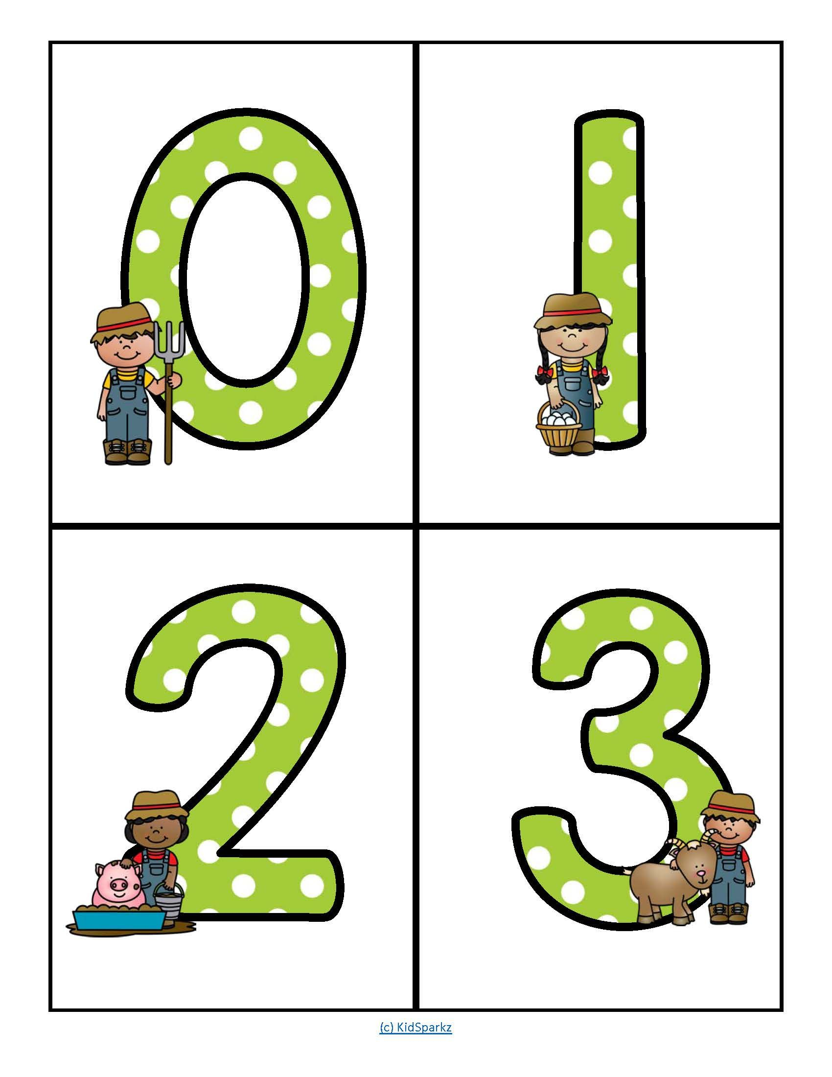 Farm Theme Large Numbers 0 20