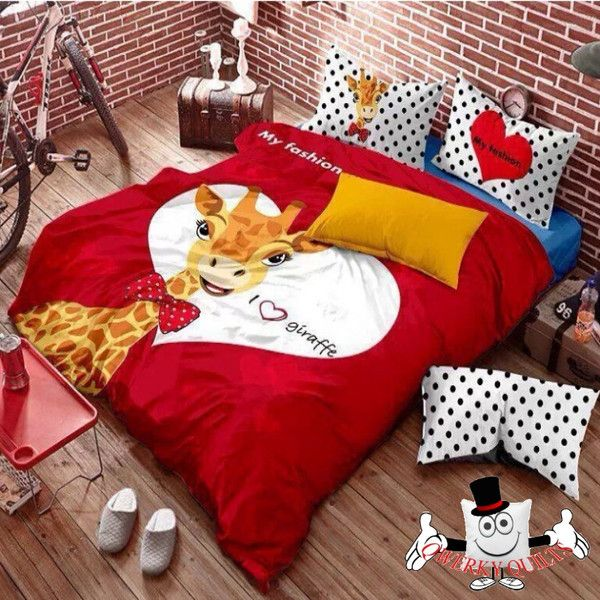 Red Yellow Giraffe Bedding Set And Quilt Cover Stuff To
