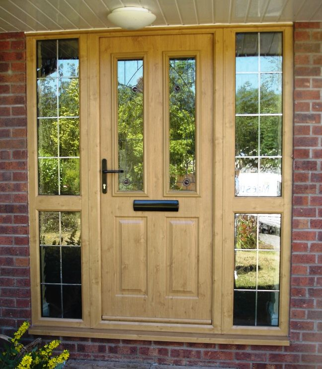 Front Door Composite Door With Matching Glazed Side Panels Authentic Wood Grain Finish And