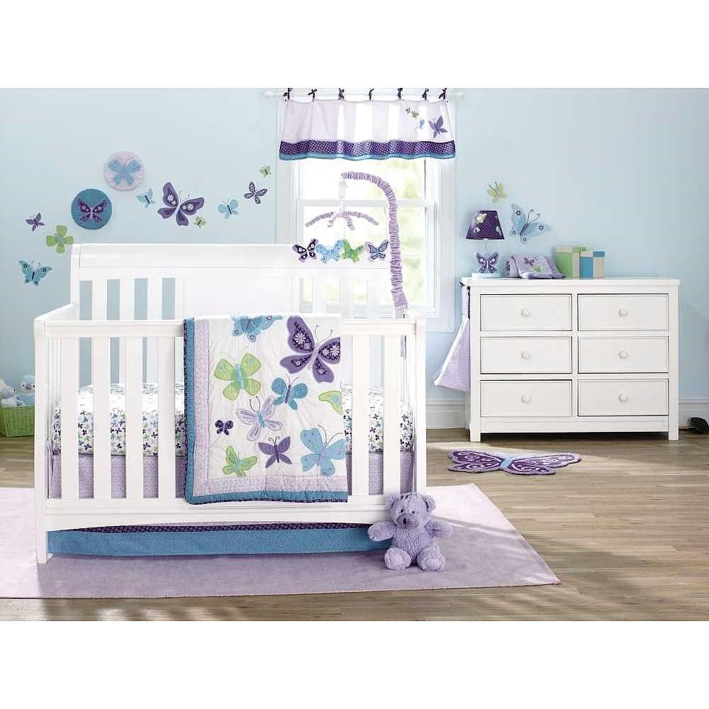 Crib guard babies r us - 1 4 Sided Appliqued Crib Bumper Cute Dust Ruffle Brings The Lavender Aqua And Green Ensemble Together Sheet Are Cotton And Fit A Standard