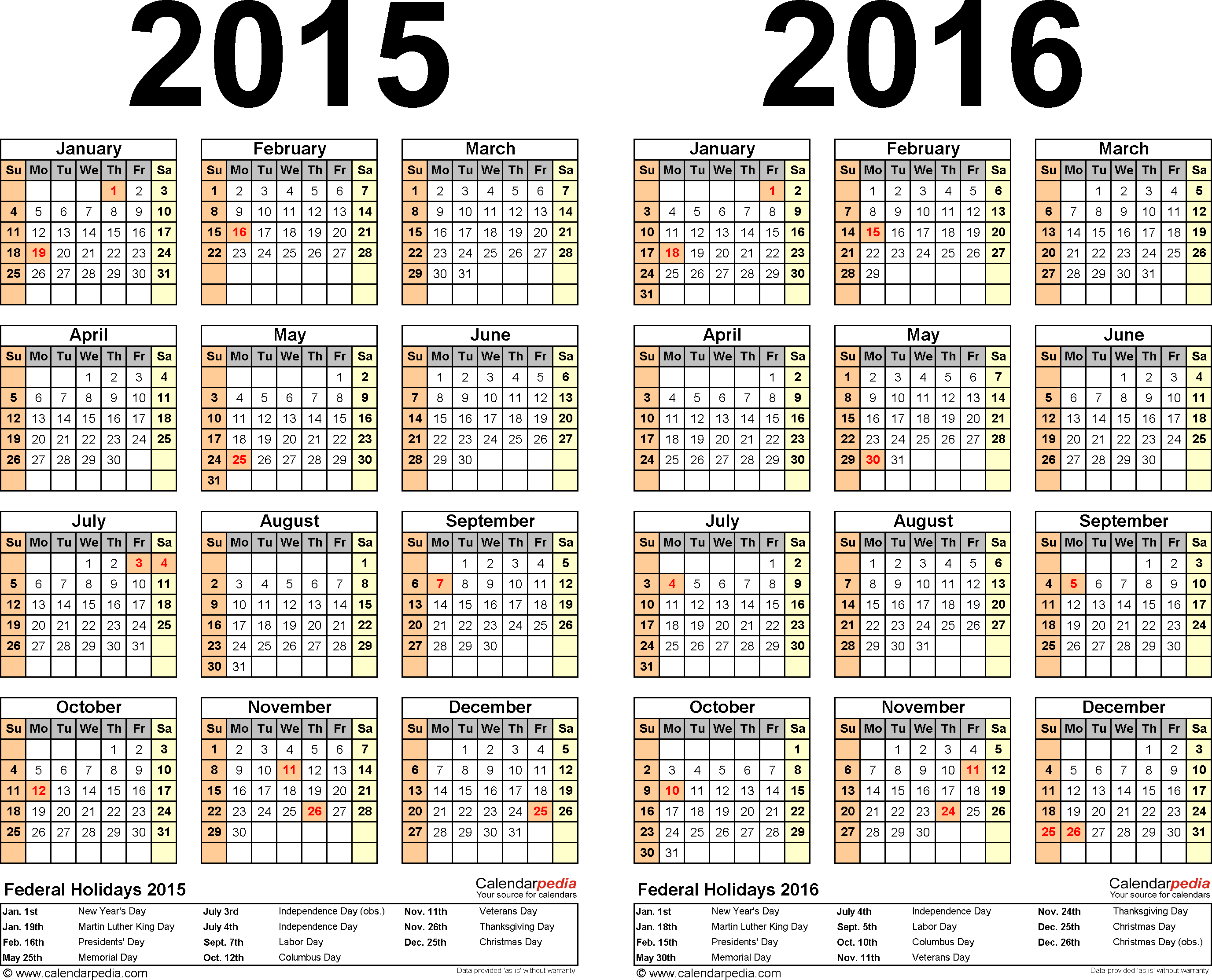2015 PDF Calendar – Sample Academic Calendar