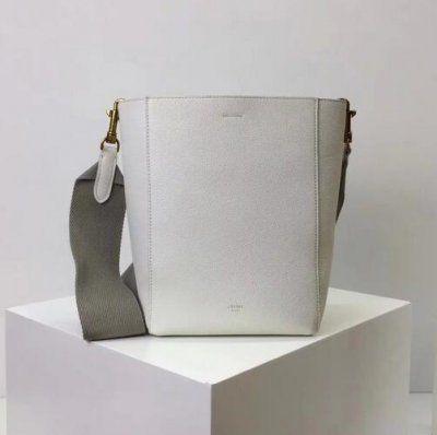 Cheap Celine Small seau Sangle bag in white soft grained calfskin ... 1fe06532407b4