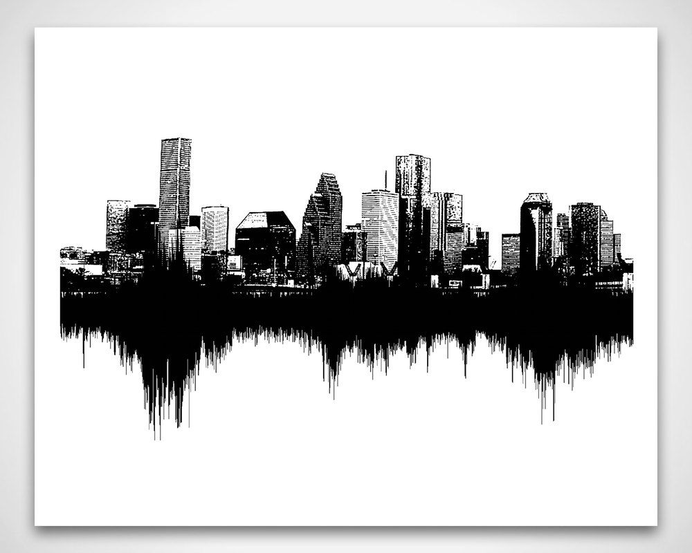 Houston Skyline Art Sounds Of The City Sound Wave