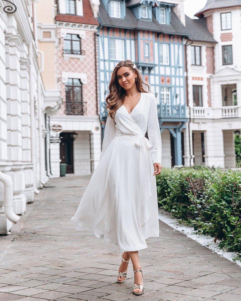 Chiffon bridal gown, reception elegant dress, tea