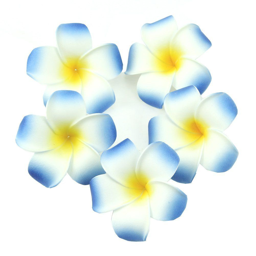 Sealike 100 Pcs Diameter 2.4 Inch Artificial Plumeria Rubra Hawaiian Flower Petals For Wedding Party Decoration with Stylus Blue -- Check out the image by visiting the link.
