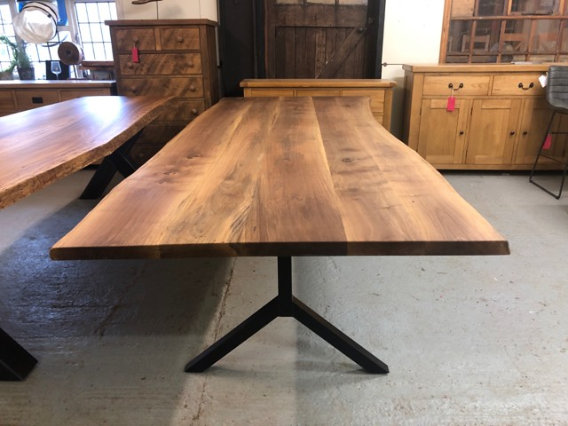 300 X 120 Cm Walnut Dining Table In 2020 Custom Dining Tables Metal Base Dining Table Dining Table