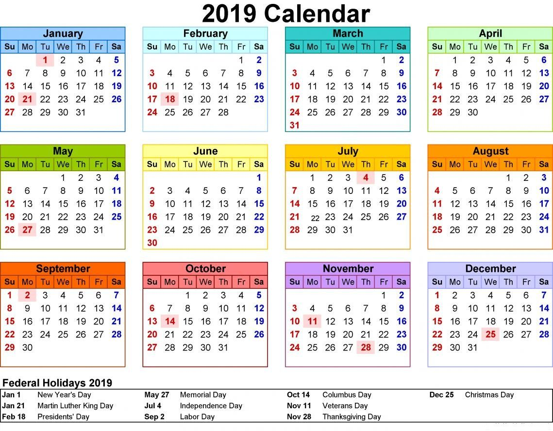 2019 Holidays Calendar With Images Calendar 2019 Printable